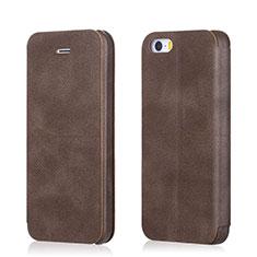 Handytasche Stand Schutzhülle Leder L02 für Apple iPhone 5S Braun