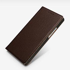 Handytasche Stand Schutzhülle Leder L02 für Huawei Ascend P7 Braun