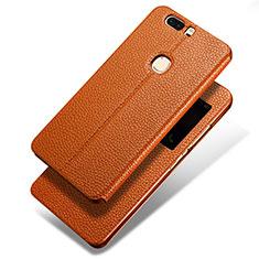 Handytasche Stand Schutzhülle Leder L02 für Huawei Honor V8 Braun