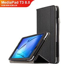Handytasche Stand Schutzhülle Leder L02 für Huawei MediaPad T3 8.0 KOB-W09 KOB-L09 Schwarz