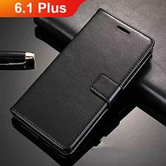 Handytasche Stand Schutzhülle Leder L02 für Nokia 6.1 Plus Schwarz