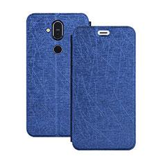 Handytasche Stand Schutzhülle Leder L02 für Nokia 7.1 Plus Blau