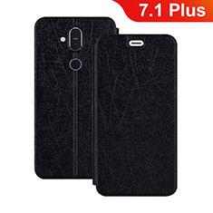 Handytasche Stand Schutzhülle Leder L02 für Nokia 7.1 Plus Schwarz