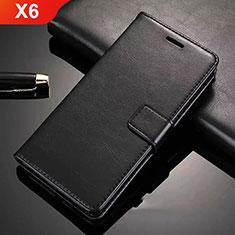 Handytasche Stand Schutzhülle Leder L02 für Nokia X6 Schwarz