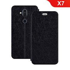 Handytasche Stand Schutzhülle Leder L02 für Nokia X7 Schwarz