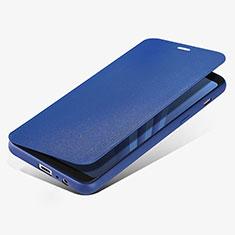 Handytasche Stand Schutzhülle Leder L02 für Samsung Galaxy A8 (2018) A530F Blau