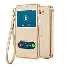 Handytasche Stand Schutzhülle Leder L02 für Samsung Galaxy J5 Prime G570F Gold