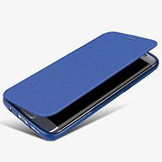 Handytasche Stand Schutzhülle Leder L02 für Samsung Galaxy S7 Edge G935F Blau