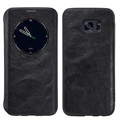 Handytasche Stand Schutzhülle Leder L02 für Samsung Galaxy S7 Edge G935F Schwarz