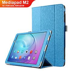 Handytasche Stand Schutzhülle Leder L03 für Huawei MediaPad M2 10.1 FDR-A03L FDR-A01W Hellblau