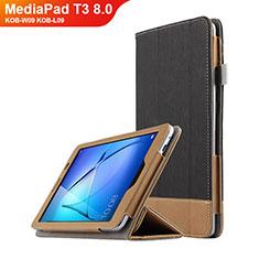 Handytasche Stand Schutzhülle Leder L03 für Huawei MediaPad T3 8.0 KOB-W09 KOB-L09 Schwarz