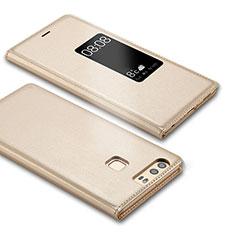 Handytasche Stand Schutzhülle Leder L03 für Huawei P9 Gold