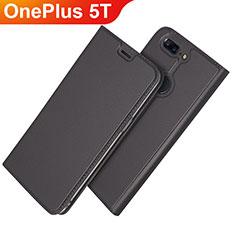 Handytasche Stand Schutzhülle Leder L03 für OnePlus 5T A5010 Schwarz