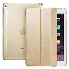 Handytasche Stand Schutzhülle Leder L06 für Apple iPad Mini 4 Gold