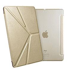 Handytasche Stand Schutzhülle Leder L08 für Apple New iPad 9.7 (2017) Gold