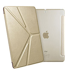 Handytasche Stand Schutzhülle Leder L08 für Apple New iPad 9.7 (2018) Gold