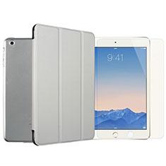 Handytasche Stand Schutzhülle Leder mit Display Schutz Folie Gehärtetes Glas für Apple iPad Mini 2 Silber