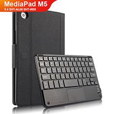 Handytasche Stand Schutzhülle Leder mit Tastatur für Huawei MediaPad M5 8.4 SHT-AL09 SHT-W09 Schwarz