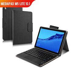 Handytasche Stand Schutzhülle Leder mit Tastatur für Huawei MediaPad M5 Lite 10.1 Schwarz