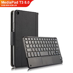 Handytasche Stand Schutzhülle Leder mit Tastatur für Huawei MediaPad T3 8.0 KOB-W09 KOB-L09 Schwarz