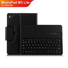 Handytasche Stand Schutzhülle Leder mit Tastatur L01 für Huawei MediaPad M3 Lite 10.1 BAH-W09 Schwarz