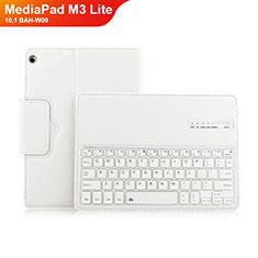 Handytasche Stand Schutzhülle Leder mit Tastatur L01 für Huawei MediaPad M3 Lite 10.1 BAH-W09 Weiß