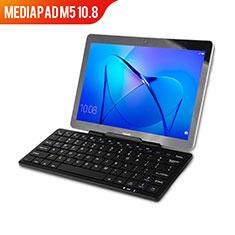 Handytasche Stand Schutzhülle Leder mit Tastatur L01 für Huawei MediaPad M5 10.8 Schwarz