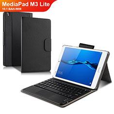 Handytasche Stand Schutzhülle Leder mit Tastatur L02 für Huawei MediaPad M3 Lite 10.1 BAH-W09 Schwarz