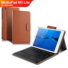 Handytasche Stand Schutzhülle Leder mit Tastatur L02 für Huawei MediaPad M3 Lite 10.1 BAH-W09 Weiß