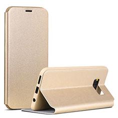 Handytasche Stand Schutzhülle Leder P01 für Samsung Galaxy S8 Gold