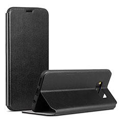 Handytasche Stand Schutzhülle Leder P01 für Samsung Galaxy S8 Schwarz