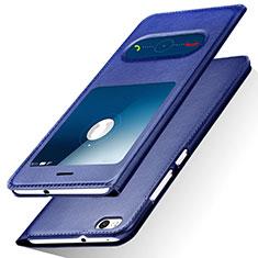 Handytasche Stand Schutzhülle Leder R01 für Huawei Honor 8 Lite Blau