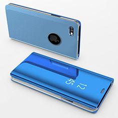 Handytasche Stand Schutzhülle Leder Rahmen Spiegel Tasche für Apple iPhone 6 Plus Blau