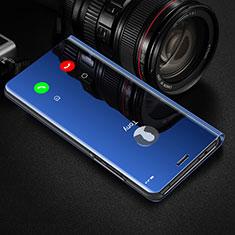 Handytasche Stand Schutzhülle Leder Rahmen Spiegel Tasche für Apple iPhone XR Blau