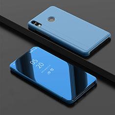 Handytasche Stand Schutzhülle Leder Rahmen Spiegel Tasche für Huawei Enjoy 9 Plus Blau