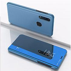 Handytasche Stand Schutzhülle Leder Rahmen Spiegel Tasche für Huawei Enjoy 9s Blau