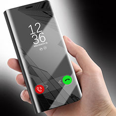 Handytasche Stand Schutzhülle Leder Rahmen Spiegel Tasche für Huawei Honor 10 Lite Schwarz