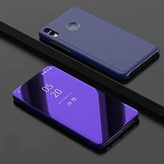 Handytasche Stand Schutzhülle Leder Rahmen Spiegel Tasche für Huawei Honor 8X Blau