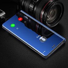 Handytasche Stand Schutzhülle Leder Rahmen Spiegel Tasche für Huawei Honor View 30 Pro 5G Blau