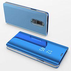 Handytasche Stand Schutzhülle Leder Rahmen Spiegel Tasche für Huawei Mate 10 Lite Blau