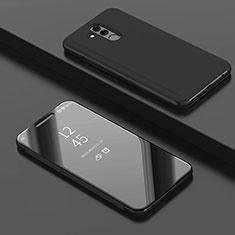 Handytasche Stand Schutzhülle Leder Rahmen Spiegel Tasche für Huawei Mate 20 Lite Schwarz