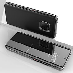 Handytasche Stand Schutzhülle Leder Rahmen Spiegel Tasche für Huawei Mate 20 Pro Schwarz