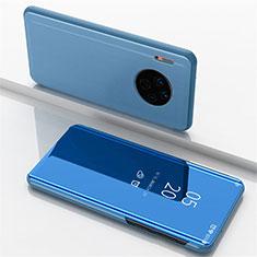 Handytasche Stand Schutzhülle Leder Rahmen Spiegel Tasche für Huawei Mate 30 Pro Blau