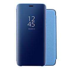 Handytasche Stand Schutzhülle Leder Rahmen Spiegel Tasche für Huawei Nova 5 Blau