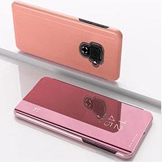 Handytasche Stand Schutzhülle Leder Rahmen Spiegel Tasche für Huawei Nova 5z Rosegold