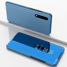 Handytasche Stand Schutzhülle Leder Rahmen Spiegel Tasche für Huawei P30 Blau
