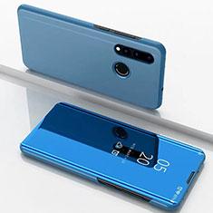 Handytasche Stand Schutzhülle Leder Rahmen Spiegel Tasche für Huawei P30 Lite Blau