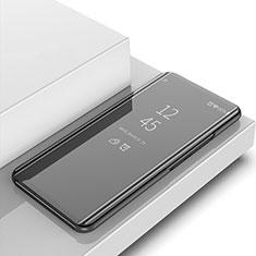 Handytasche Stand Schutzhülle Leder Rahmen Spiegel Tasche für Huawei Y6 Pro (2019) Schwarz