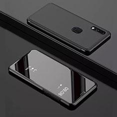 Handytasche Stand Schutzhülle Leder Rahmen Spiegel Tasche für Huawei Y7 (2019) Schwarz