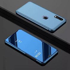 Handytasche Stand Schutzhülle Leder Rahmen Spiegel Tasche für Huawei Y7 Pro (2019) Blau